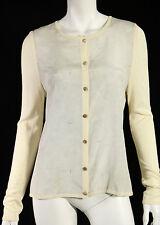 CELINE Vintage Ivory Geometric Print Silk & Knit Cardigan Sweater 42