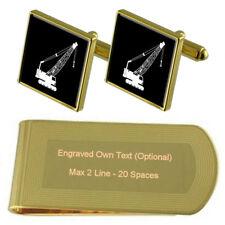 Builder Crane Lift Gold-Tone Cufflinks Money Clip Engraved Gift Set