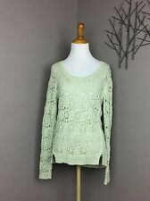 Knitted & Knotted Anthropologie Green 'Collected Stitches Pullover' Open Knit S