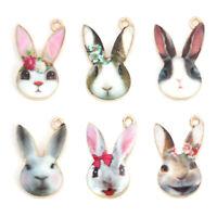 10Pcs Easter Rabbit Flower Enamel Charms Pendants DIY Jewelry Making Findings