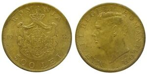 y161 ROMANIA 500 LEI 1945 COIN KM#67 aUNC