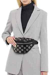 NWT MCQ Alexander McQueen Eyelet-embellished Patent-Leather belt bag Black $450