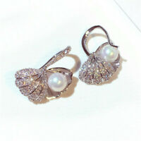 Copper Rhinestone Shell Pearl Earrings Ear Drop Dangle Gift Aurora Fashion Hoop