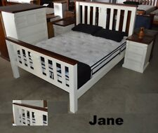JANE QUEEN BEDROOM SUITE TIMBER BED FRAME BEDSIDE CHEST TALLBOY OFF WHITE WALNUT