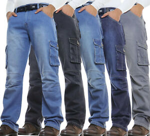 Mens Cargo Combat Jeans New Casual Work Heavy Denim With Belt