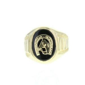 Black Onyx Horseshoe Lucky ring  14k Yellow Gold - gift for him, Mens/gents ring