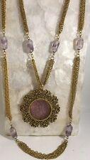 Vintage Goldette Intaglio Cameo Double Strand Art Glass Bead Multi Strand Purple