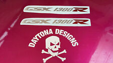 GSXR 1300 R SILVER & RED CHROME SEAT UNIT PAIR CUSTOM GRAPHICS DECALS STICKERS