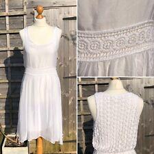 Vestido De Verano Vintage años 90 Crochet Blanco Talla M espalda Gitano Boho en capas 8/10 B7
