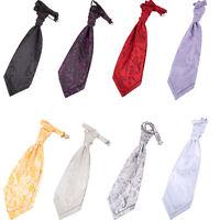 Premium Woven Floral Formal Wedding Classic Ruche Mens Pre-Tied Cravat FREE Pin