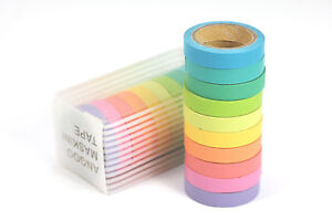 (0.18€/m) 10er Washi Masking Tape bunt SET Papier Klebeband Pastell