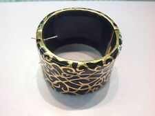 Angelica de Paris Large Cuff Bracelet SS,18k Yellow Gold Overlay w Black Resin
