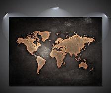 Vintage World Map Black Poster - A0, A1, A2, A3, A4 Sizes