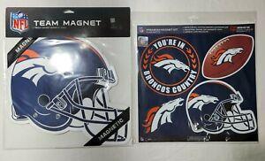 Denver Broncos Helmet Vinyl Car Magnet [NEW] NFL Auto Emblem Decal 2 New Packs
