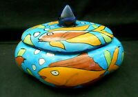 "Older Talavera Mexican Pottery Blue Aqua Fish Motif Covered Trinket Box 6"" w1s2"
