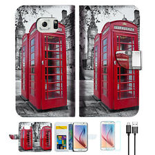 British phone Booth Wallet Case Cover For Samsung Galaxy S6-- A025