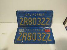 Blue California License set, pair Plates Embossed Metal DMV Cleared
