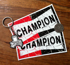 """Champion spark plug stickers x 2, 5"""" 13cm, old style, cracked effect, quality!"""