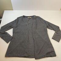 Michael Kors Womens Cardigan Sweater Gray Heathered Long Sleeve Open Front XL