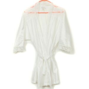 Fredericks of Hollywood White Robe L Womens Lace Striped 3/4 Sleeve Bridal Short