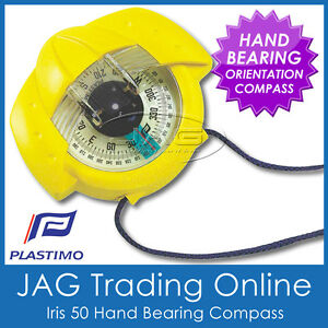 YELLOW PLASTIMO IRIS 50 BEARING ORIENTEERING COMPASS -Marine/Hiking/Scout/Bush