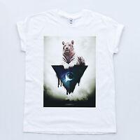 ILLUMINATI Tiger Triangle Eye Indie Space Swag Top Fresh Galaxy Geek T-shirt