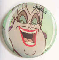 1989 vintage original Disney Ursula Mermaid pin back button 2 1/4 inch 43202