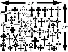 Cross decals, celtic cross sticker, set of 46 cross vinyl decals 2 to 8 inches
