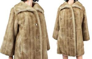 Honey Mink Faux Fur Coat Sz M Vintage 70s Light Brown Tan Plush Winter Jacket