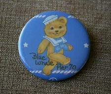 "Blue Whale Pier 70 Teddy Bear Sailor Metal 2"" Pin Pinback Button"