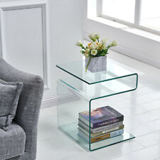 Modern Side Table,S-Shape End Table Living Room Furniture,Clear