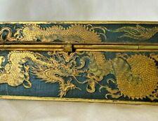 More details for lovely japanese shakudo trinket box  hand-painted gilt dragon birds temples fuji