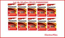 Lot de 10 piles spéciales photos CR123 lithium Panasonic, livraison gratuite !!