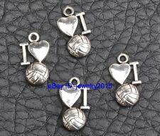 50pcs Tibetan silver pendants charm I Love Volleyball pendant 16mm G3411