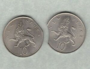 2 ROYAL MINT ERROR TEN PENCE COINS DATED 1968 & 1969 IN NEAR MINT CONDITION