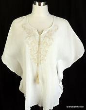 Denim & Co. M White Guaze Boho Dolman Peasant Tunic Blouse Top