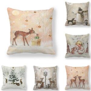 "18"" Christmas Xmas Cushion Cover Pillow Case Tree Deer Home Sofa Throw Decor New"