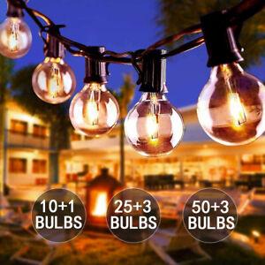 50FT Globe Outdoor Garden Festoon Fairy String Lights 50 Bulbs G40 Mains Powered