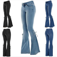 Women High Waist Stretch Denim Jeans Flare Leg Skinny Trousers Bell-Bottom Pants