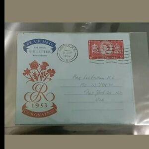 1953 Aerogramme air letter queen Elizabeth coronation