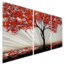 Metal Wall Art Decor Contemporary Abstract Red Blossom 2 Landscape Painting