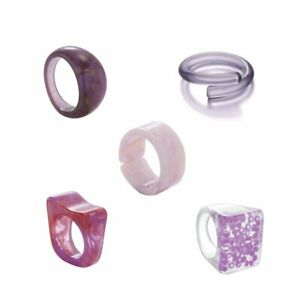 5Pcs Resin Colorful Acetate Opening Finger Ring Wedding Jewelry Gift Adjustable