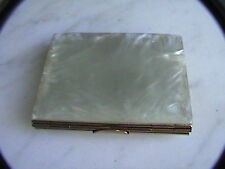 Vintage Retro Celluloid ice compact picture holder white plastic and metal