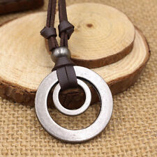 Mens Womens Double Ring Pendant Adjustable Leather Cord Necklace Chain