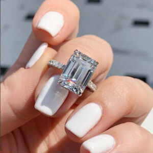 2.88Ctw Emerald Cut Moissanite Hidden Halo Engagement Ring 14k White Gold Plated