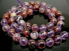 "Natural Phantom Amethyst Purple Gemstone 8mm Round Beads Strand 15.5"" 48 Beads"