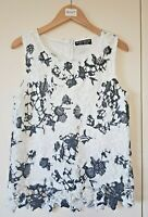 Select Top Size 8 Black White Floral Embroidery Sleeveless Smart Casual Women's