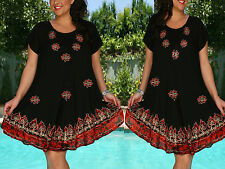 Free Size Dress Cover Up Embroidery Black Red Floral Abstract Design NWT M,L,XL