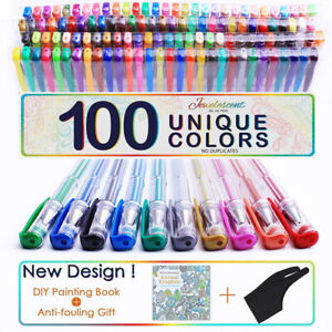 Gel Pen Glitter Paint Neon Metallic 100 Colors Professional Art Drawing AU