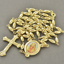 27.5 Inches Lucky 9K Gold Filled Rosary Pray Bead Mary Cross Necklace Jewelry
